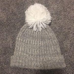 JCrew Ribbed grey & white knit beanie